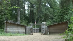 P02374 Lewis and Clarks Fort Clatsop in Oregon Stock Footage