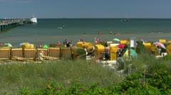 Beautiful Beach in Binz on Rügen Island - Baltic Sea, Northern Germany Stock Footage