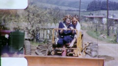 Pretty Girl Gets Tractor Ride Earth Mover 1950s Vintage Film 8mm Home Movie 5648 Stock Footage