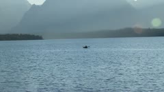 Kayaker in jackson lake Yellowstone Stock Footage