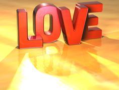 Word love on yellow background Stock Illustration