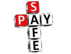 3d pay safe crossword - stock illustration