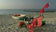 Fishing Boat on the Beach in Ahrenshoop - Baltic Sea, Northern Germany Stock Footage