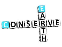 3d earth conserve crossword - stock illustration