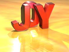 Word joy on yellow background Stock Illustration