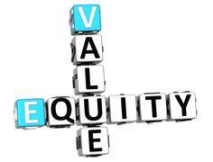 Stock Illustration of 3d value equity crossword
