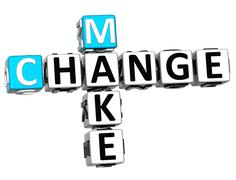 3d make change crossword Stock Illustration