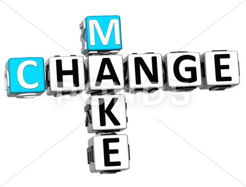 Stock Illustration of 3d make change crossword