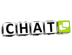 3d chat button click here block text - stock illustration
