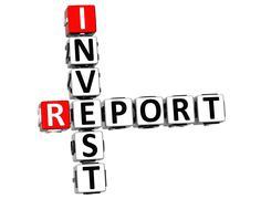 3d invest report crossword - stock illustration