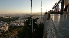 Athens panorama at sunset Stock Footage
