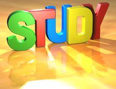 Word study on yellow background Stock Illustration