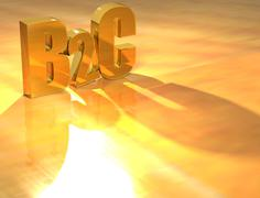 Stock Illustration of 3d b2c gold text
