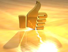 3d ok gold hand text - stock illustration