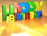 Word happy birthday on yellow background Stock Illustration