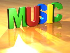 word music on yellow background - stock illustration