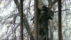 Sculpture near jesters puppet theater in Kiev Stock Footage