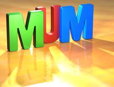 Word mum on yellow background Stock Illustration