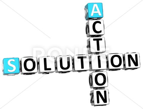 Stock Illustration of 3d action solution crossword