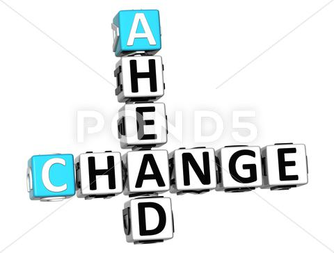 Stock Illustration of 3d change ahead crossword