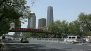 Stock Video Footage of Central Business District in Beijing, China Cars Traffic Main Road, Blue Sky