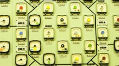 Nuclear Power Station Reactor Core Monitor Panel Stock Footage