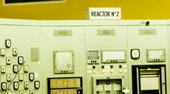 Stock Video Footage of Nuclear Power Station React Core Monitor Station