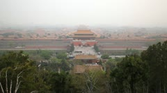 Smog, Aerial View, Gate to Forbidden City, Center Beijing, China, Air Pollution Stock Footage