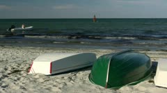 Boats on the Beach - Baltic Sea, Northern Germany Stock Footage