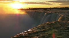 The Sun Comes Up Over Niagara's Horseshoe Falls - stock footage