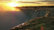 Stock Video Footage of The Sun Comes Up Over Niagara's Horseshoe Falls