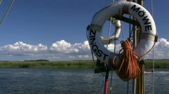 Life Belt on a Sailing Boat in Zingst - Baltic Sea, Northern Germany Stock Footage