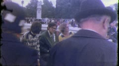 CROWD Buckingham Palace LONDON Tourists 1970s (Vintage Film Home Movie) 5657 - stock footage