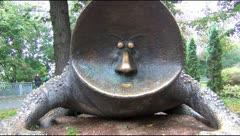 Bronze sculpture park in Kiev Stock Footage
