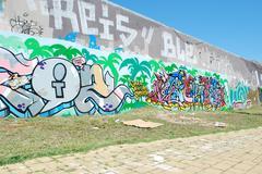 graffiti wall - stock photo