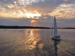 Evening sail by the lake - stock photo