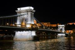 Chain Bridge in Budapest, Hungary - stock photo