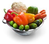 Vegetables in metal pan - stock photo