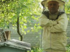 Beekeeper at work with fumigation apparatus NTSC Stock Footage
