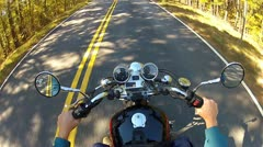 High Angle POV Motorcycle Riding Forest Road 1 Stock Footage