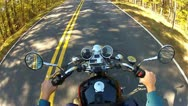 Stock Video Footage of High Angle POV Motorcycle Riding Forest Road 1