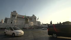 Rome traffic on piazza late afternoon Stock Footage