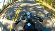 Stock Video Footage of High Angle POV Motorcycle Riding Forest Road 2