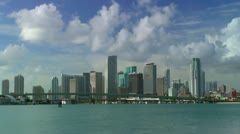 Time-lapse downtown Miami Skyline early morning seen across Biscayne bay Stock Footage