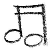musical note sketch - stock photo