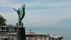 Puerto Vallarta Boardwalk Malecon Seahorse sculpture HD 3944 Stock Footage