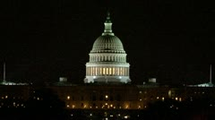 U.S. Capitol at Night - stock footage