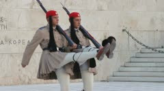 Greek guard Evzones Stock Footage