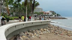 Puerto Vallarta Boardwalk Malecon tourism HD 3759 Stock Footage
