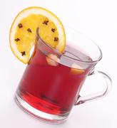 mulled wine and orange with clove - stock photo